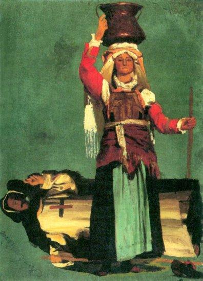 Italian Costume Studies woman canvas art print by Albert Bierstadt