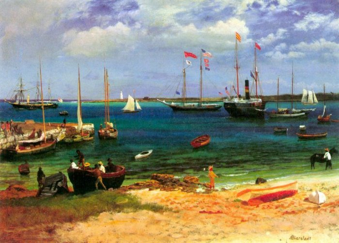 Nassau Port Commonwealth of the Bahamas seascape canvas art print by Bierstadt