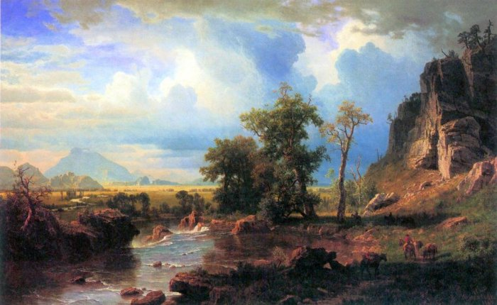 Northern Fork of the Plate Nebraska landscape canvas art print by Bierstadt
