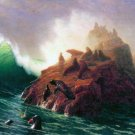 Seal Rock California seascape canvas art print by Bierstadt