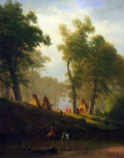 Wolf River, Kansas American landscape canvas art print by Albert Bierstadt
