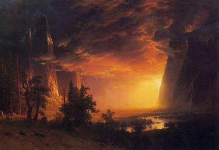 Sunrise in Yosemite Valley landscape canvas art print by Bierstadt