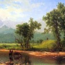 Wind River Mountains, landscape in Wyoming American canvas art print by Albert Bierstadt