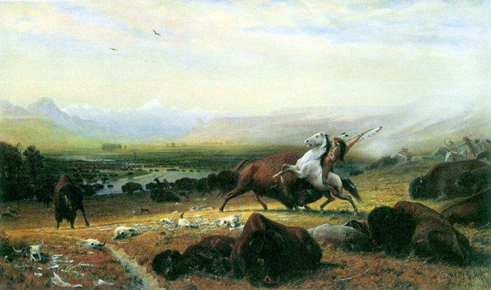 The Last Buffalo wild animal canvas art print by Bierstadt