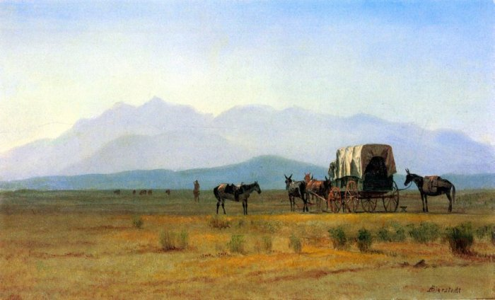The Stagecoach in the Rockies landscape canvas art print by Bierstadt