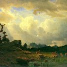 Thunderstorms in the Rocky Mountains landscape canvas art print by Bierstadt
