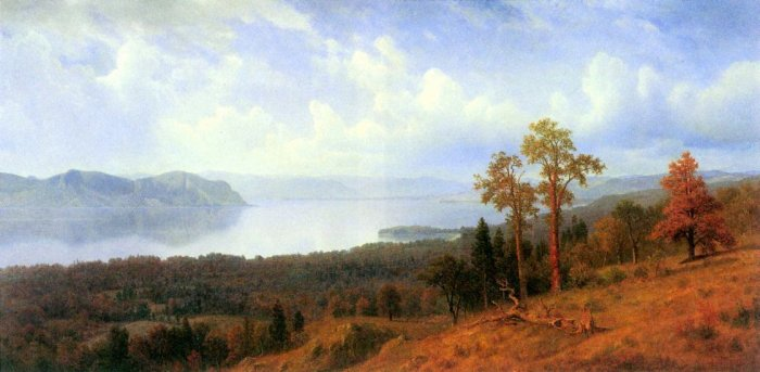 View of the Hudson River Valley landscape canvas art print by Bierstadt