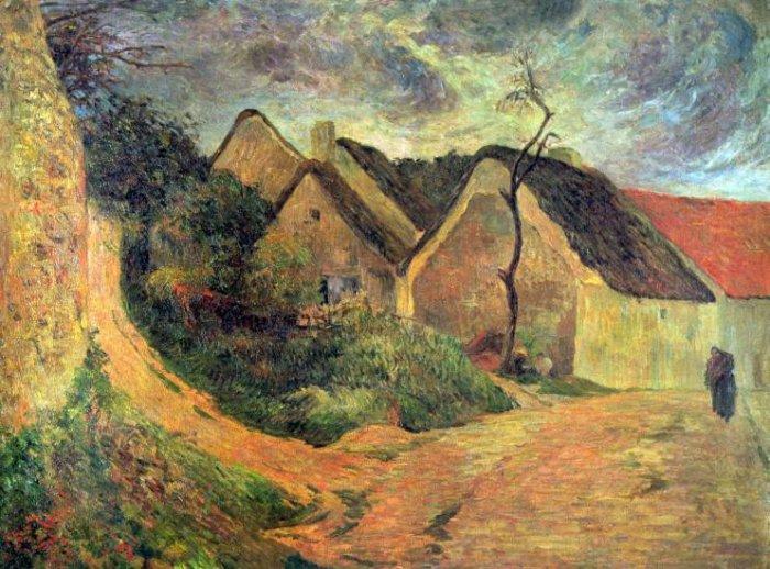 Ansteigender landscape canvas art print by Paul Gauguin