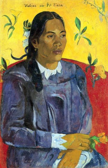 Woman with Flower canvas art print by Paul Gauguin