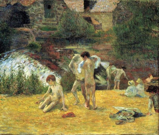 Bathing in the Mill of Bois d'Amour canvas art print by Paul Gauguin