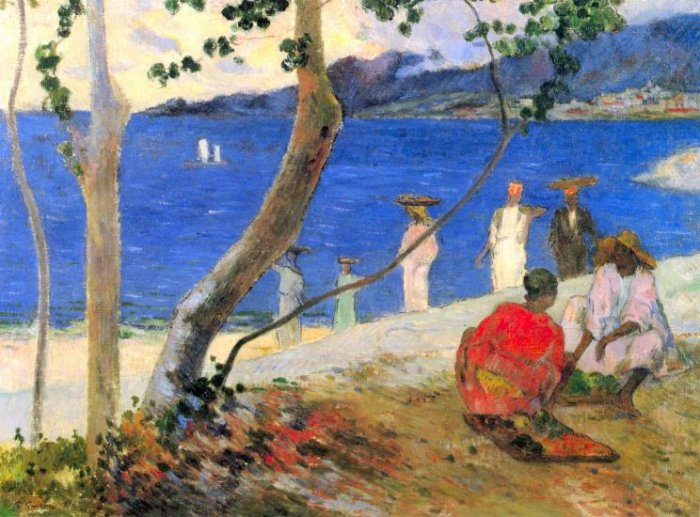 Beach Scene water landscape canvas art print by Paul Gauguin