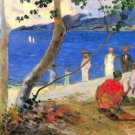 Beach Scene water landscape canvas art print by Paul Gauguin