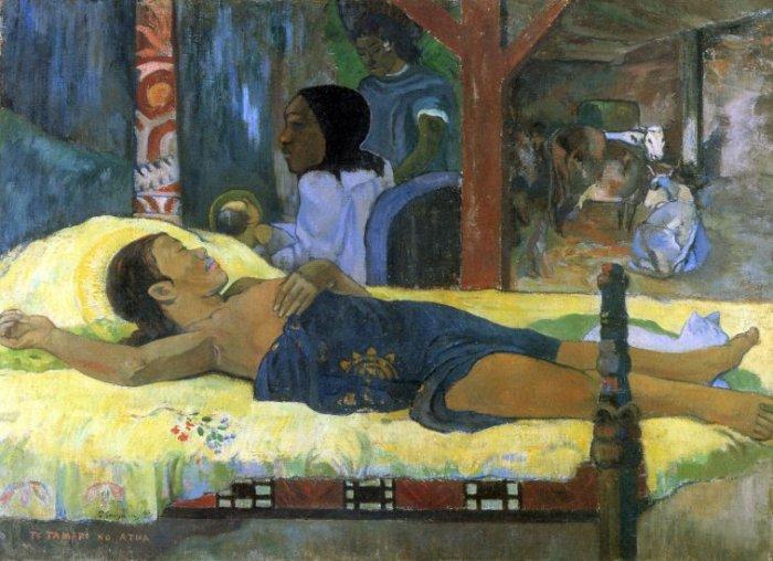 Birth of Jesus Son God Tetemari religious canvas art print by Gauguin
