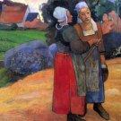 Breton Famers women canvas art print by Paul Gauguin