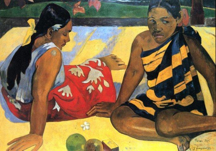 Two Women From Tahiti women canvas art print by Paul Gauguin