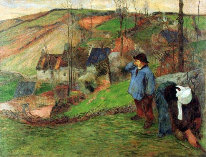 Breton Shepherd landscape canvas art print by Paul Gauguin