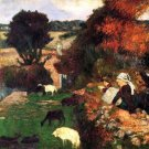 Breton Shepherds landscape canvas art print by Paul Gauguin