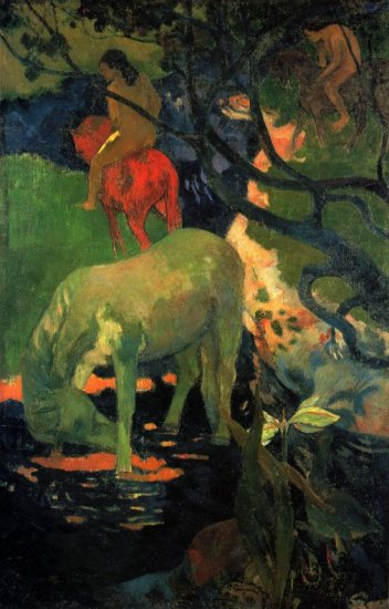 The Mold horses landscape canvas art print by Paul Gauguin