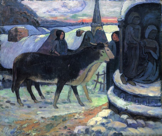 Christmas cows women landscape animals canvas art print by Paul Gauguin