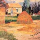 Farmhouses in Arles landscape canvas art print by Paul Gauguin