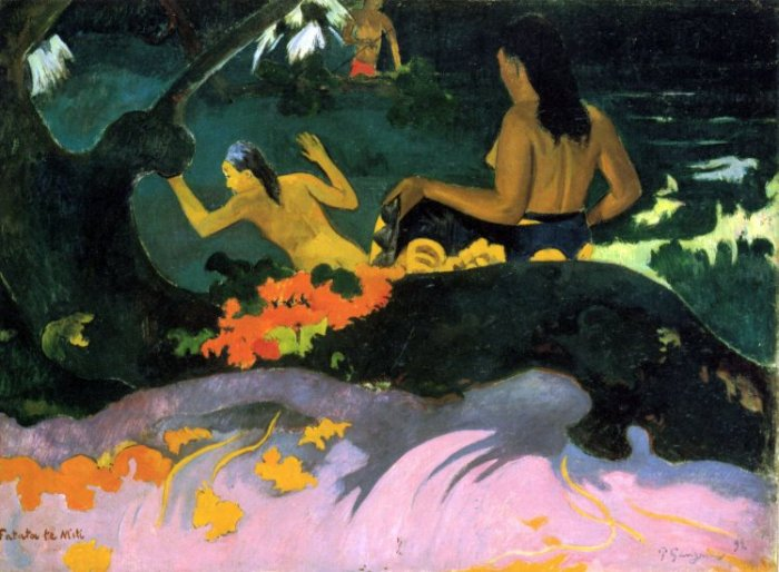 Fatata Te Mit women canvas art print by Paul Gauguin