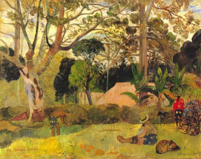 Te Raai Rah landscape garden people canvas art print by Paul Gauguin