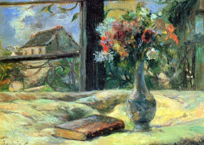 Flower Vase in Window still life canvas art print by Paul Gauguin