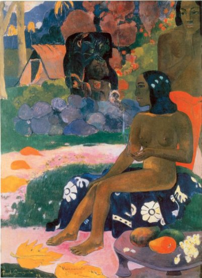 Woman landscape garden flower canvas art print by Paul Gauguin