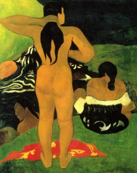 Tahitians on Beach women canvas art print by Paul Gauguin