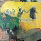 Harvest In Brittany landscape women men cows canvas art print by Paul Gauguin