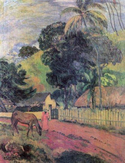 Landscape woman horse canvas art print by Paul Gauguin