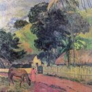 Landscape woman horse canvas art print by Paul Gauguin