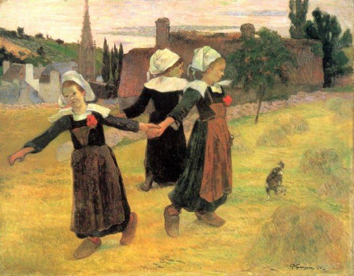 Breton Girls Dancing Pont Aven 1888 canvas art print by Paul Gauguin