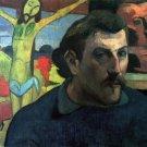 Self Portrait with Jesus religious Christian canvas art print Gauguin