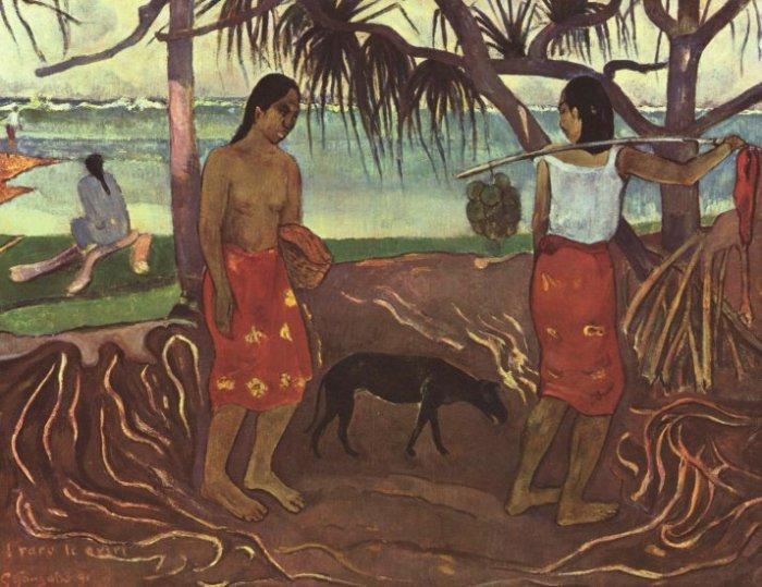 Raro Te Ouiri women canvas art print by Paul Gauguin