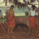 Raro Te Ouiri women canvas art print by Paul Gauguin