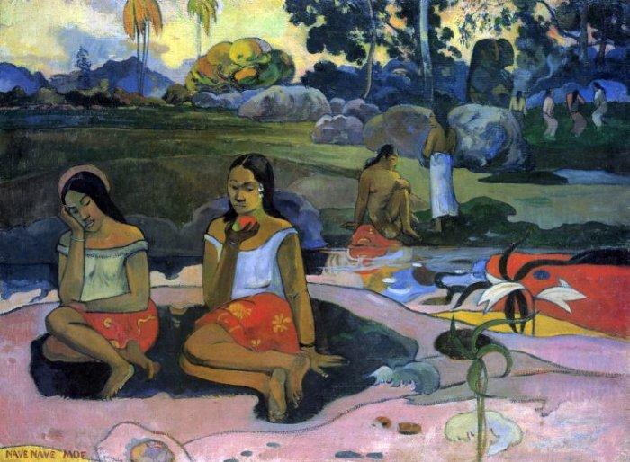 Nave Nave Moe women landscape canvas art print by Paul Gauguin