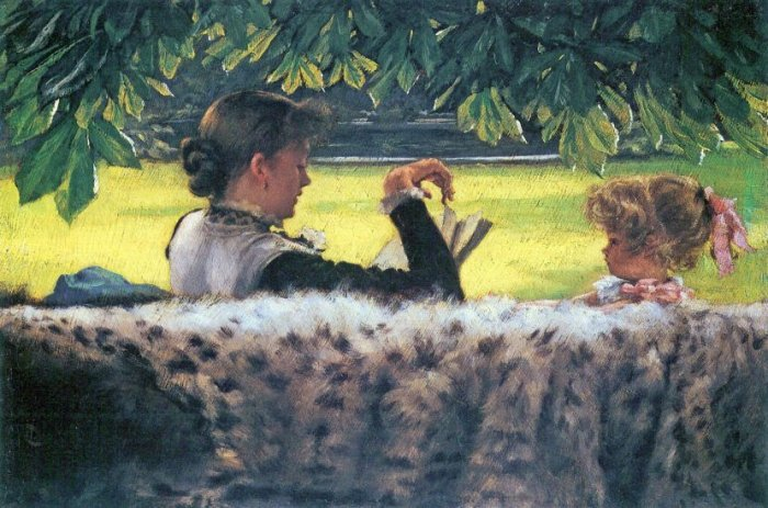 A Story Read woman girl child landscape canvas art print by Tissot