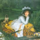 A Young Woman in a Boat dog water landscape canvas art print by Tissot