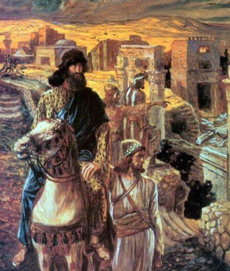 Nehemiah Sees the Rubble biblical religious canvas art print by Tissot