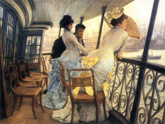 The Gallery of the H.M.S. Calcutta women canvas art print by Tissot