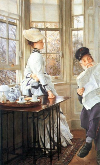 The Messages Read woman canvas art print by Tissot