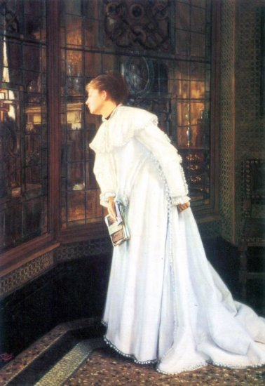 Upstairs woman portrait canvas art print by Tissot