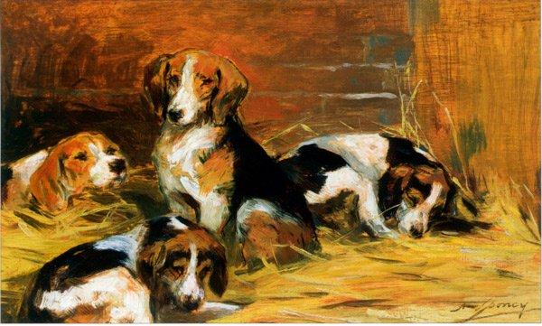 French Hounds dog canvas art print by François Alexandre de Poncy