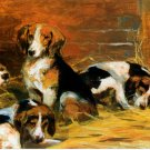 French Hounds dog canvas art print by François Alexandre de Poncy