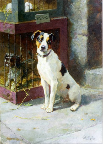 Waiting for Master dog canvas art print by Alfred Duke