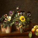 Still Life with pansies flowers canvas art print Henri Fantin Latour