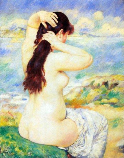 A Bather woman beach canvas art print by Pierre-Auguste Renoir