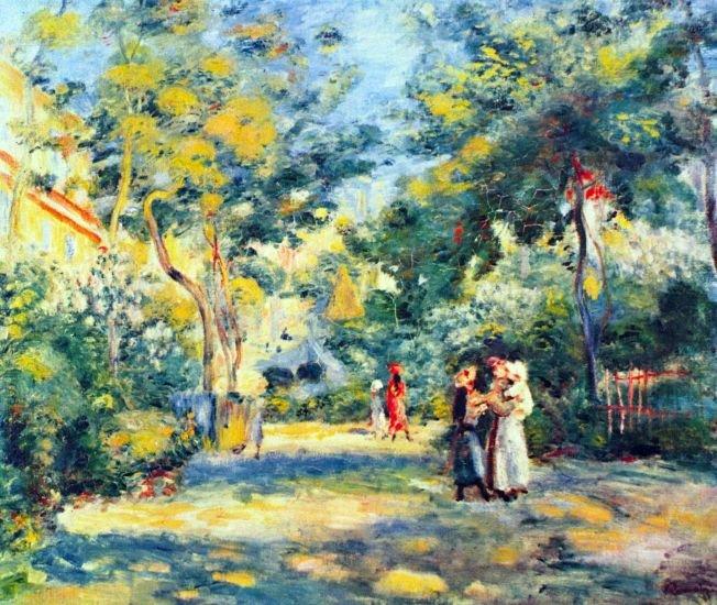 A Garden in Montmartre 1890 landscape women people trees canvas art print by Pierre-Auguste Renoir