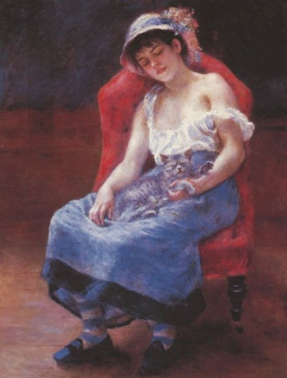 A Girl Asleep with Cat sleeping animal woman canvas art print by Pierre-Auguste Renoir
